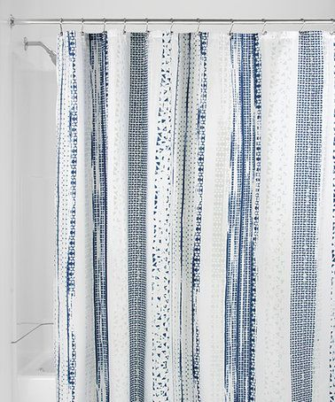 Love This Navy Slate Blue Geometric Shower Curtain On