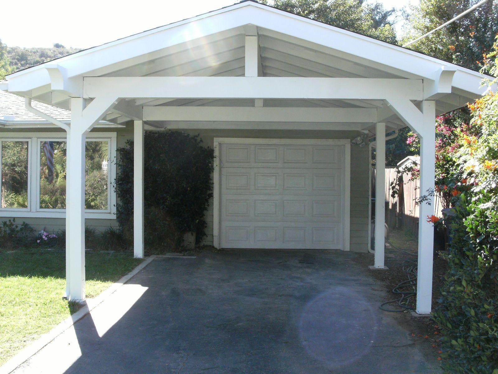 Pitched Roof Carport Adding Onto The Single Garage Carport
