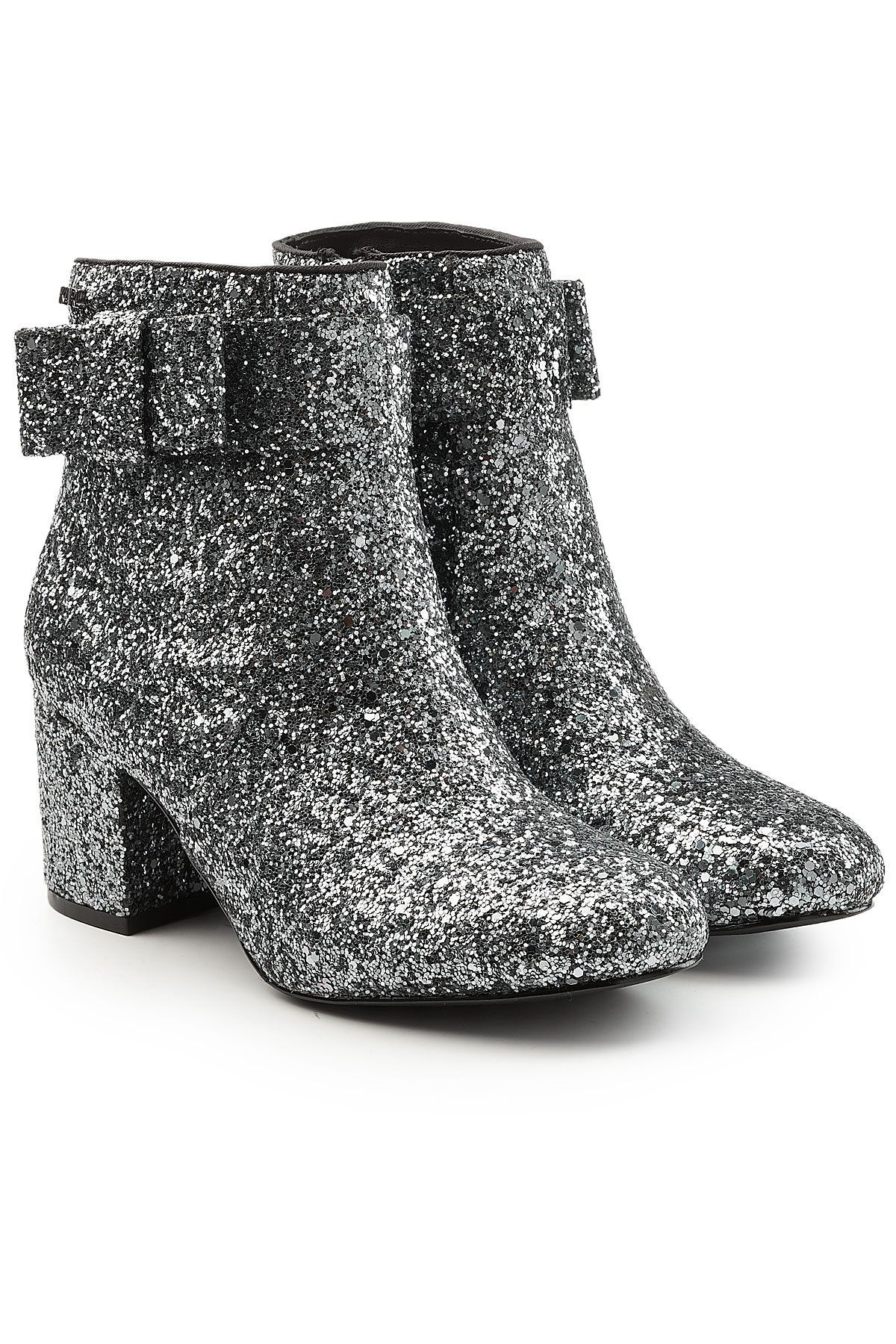 low heel glitter boots