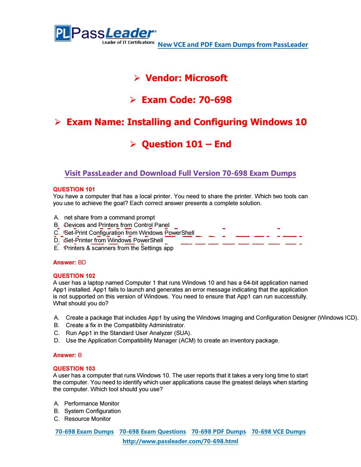 2017 Passleader 70 698 Dumps With Vce And Pdf Question 101 End