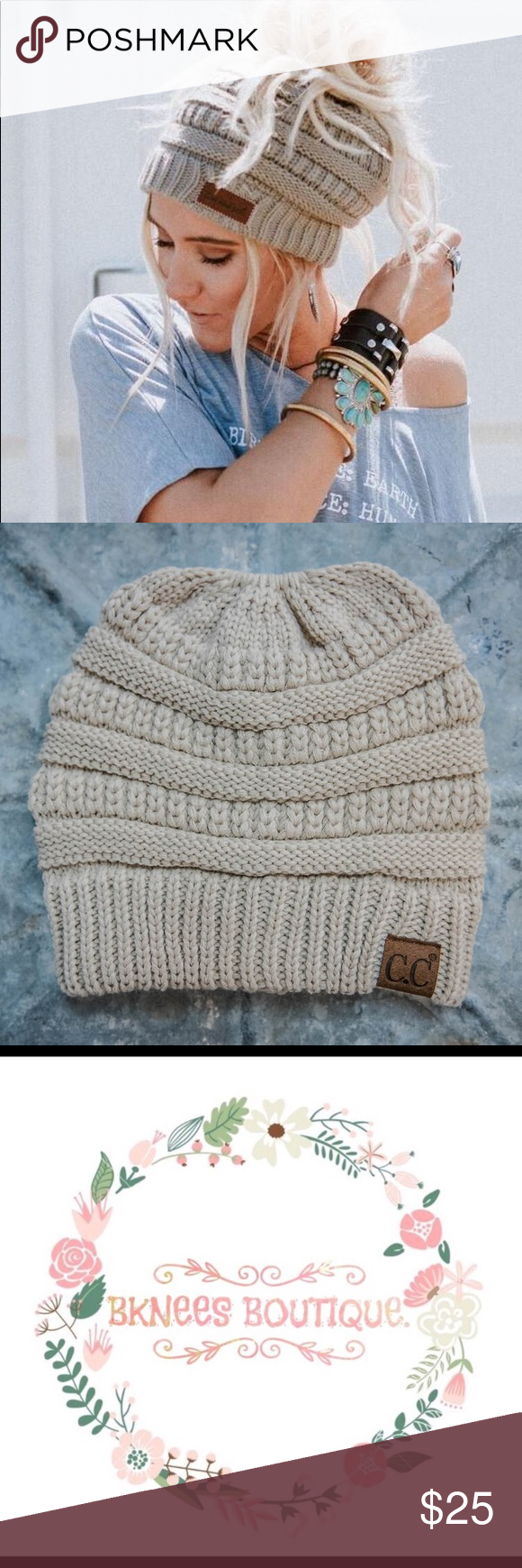3236bb5e65a0f 🦋RESTOCKED COLOR! 🦋 C.C. MESSY BUN BEANIES! THIS LISTING IS FOR SHADE  BEIGE