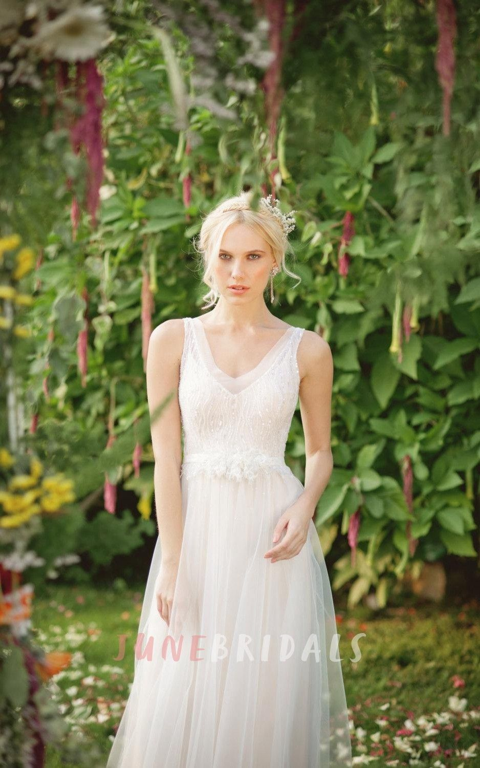 Chiffon Tulle Lace Weddig Dress With Beading Sequins