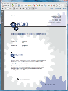 manufacturing process improvement sample proposal create your own custom proposal using the full version of this completed sample as a guide with any