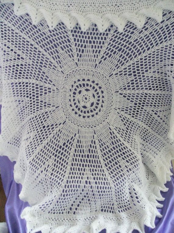 Circular Crochet Baby Shawl In White Approx 48 Inches In Diameter
