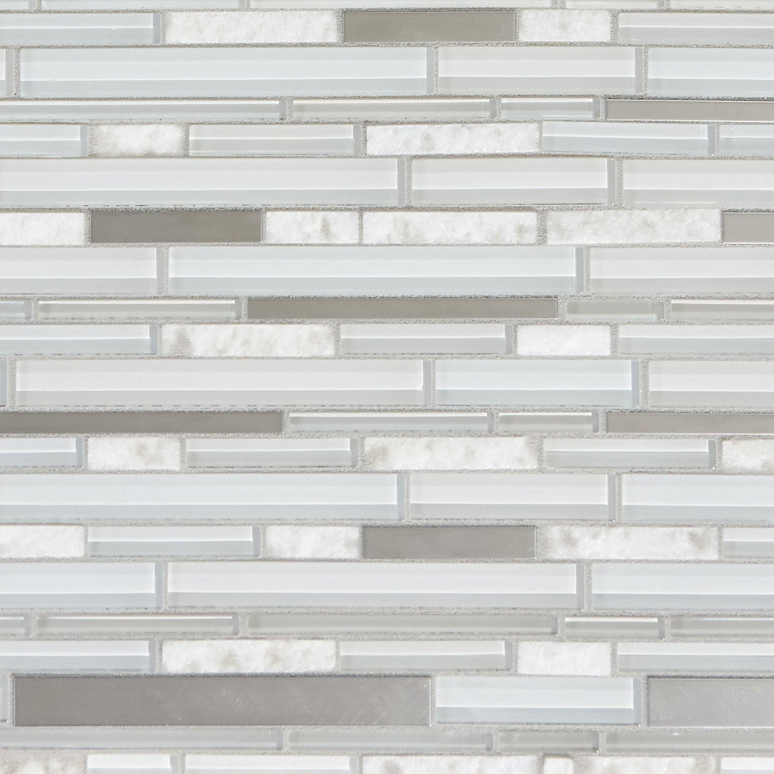 Norwegian White Stone Linear Polished Glass Mosaic Products In