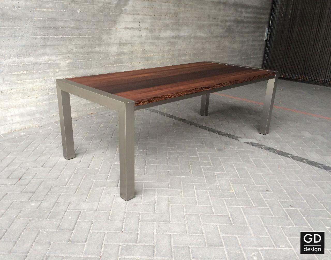 Eetkamer Tafel Wenge.Roestvrij Stalen Design Tafel Model Milano Met Massief Wenge
