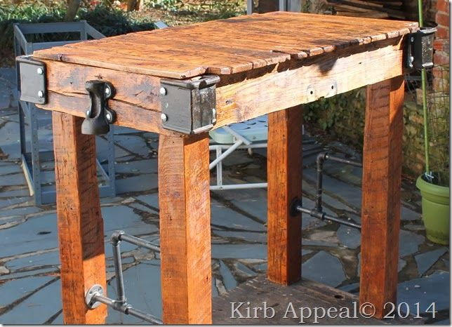 Reclaimed Wood Pub Table #repurpose #furniture