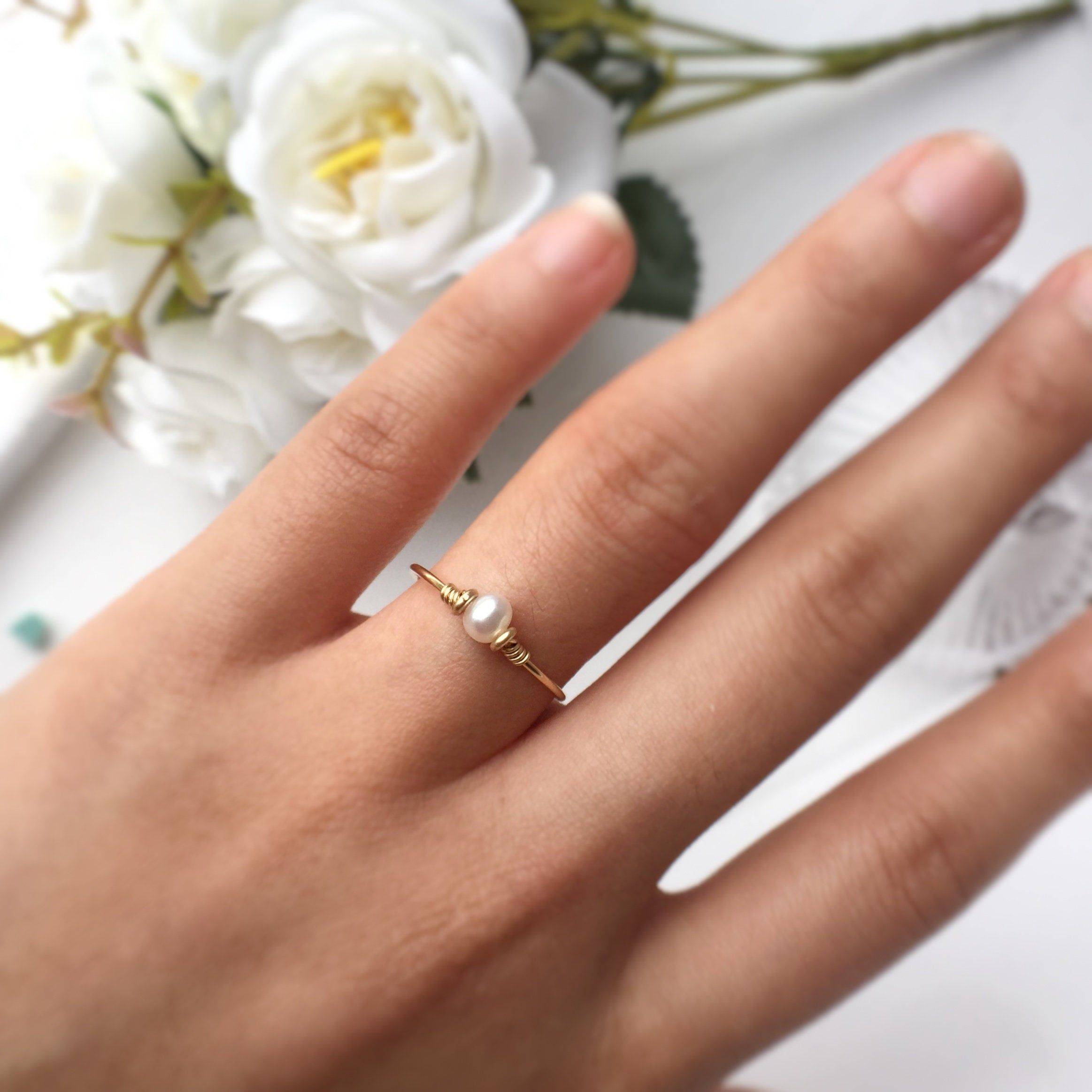 Gold Pearl Ring With Diamonds,9K Gold Ring,Engagement Ring,Classic Pearl Ring,Bridal Jewelry,14K Yellow Gold Pearl Ring,Birthday Ring