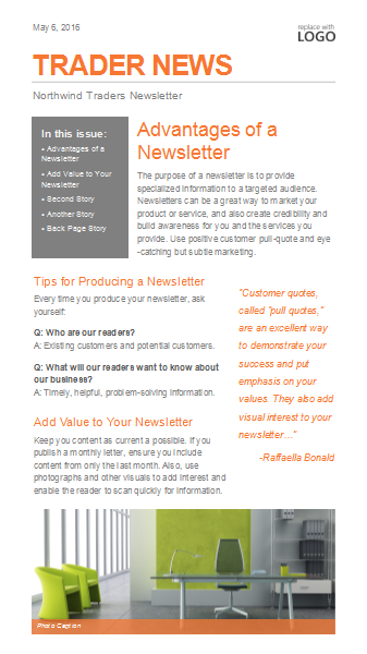 Simple Small Business Newsletter Template For Microsoft Publisher