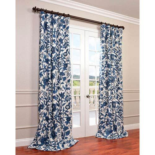 Living Room Translate To Indo: Half Price Drapes Indonesian Blue 96 X 50 Inch Printed