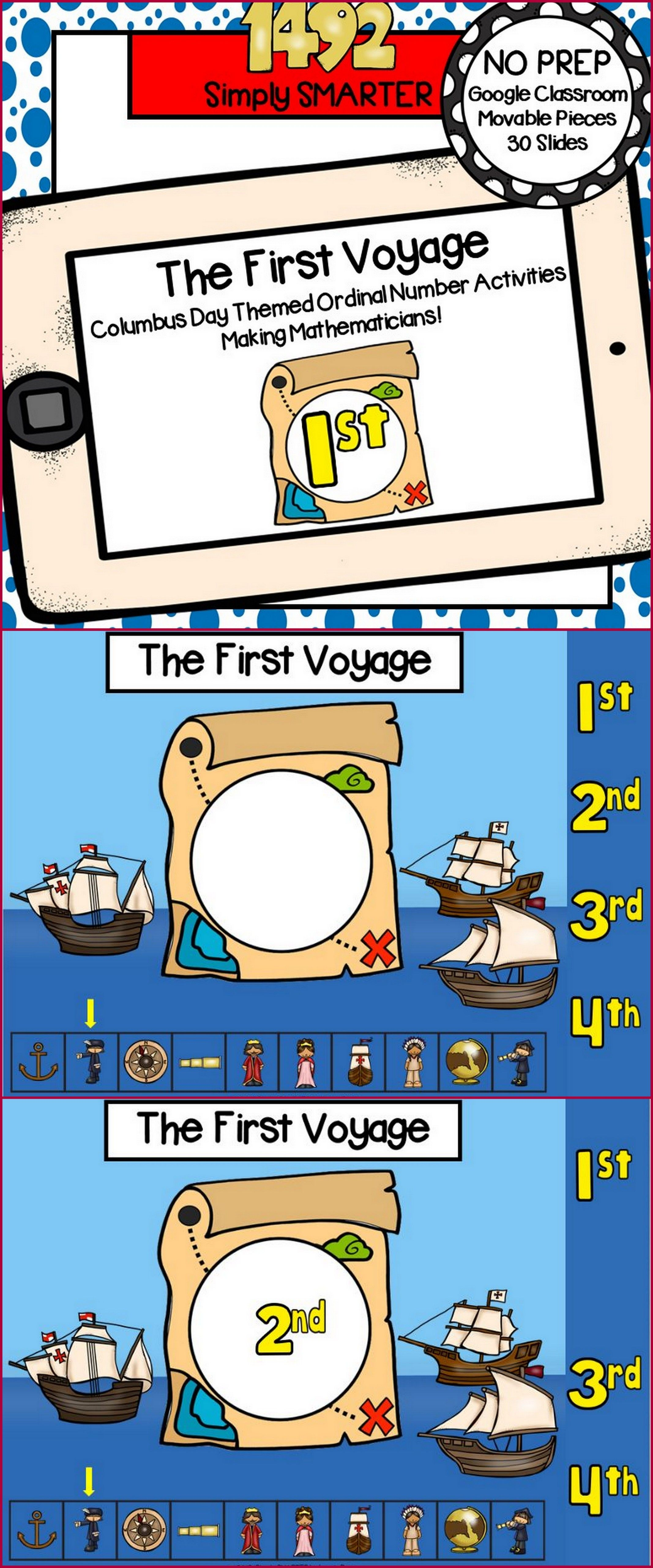 Columbus Day Themed Ordinal Number Activities For