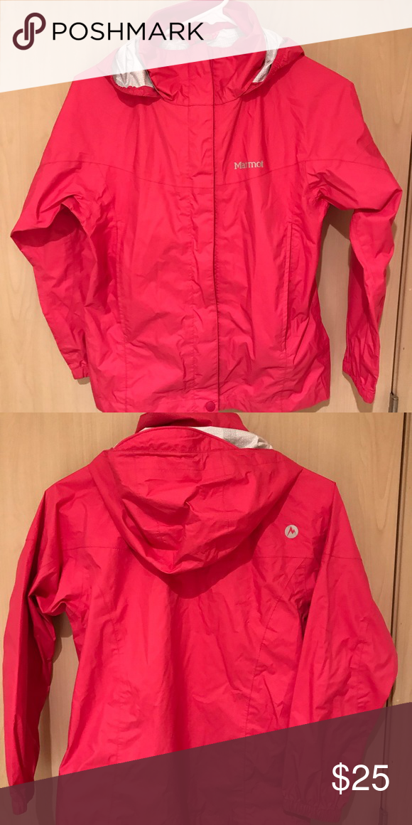349984ba3146 EUC Marmot raincoat  Size M Perfect condition Marmot rain jacket in a  bright pink color. Name is blacked out on the interior.
