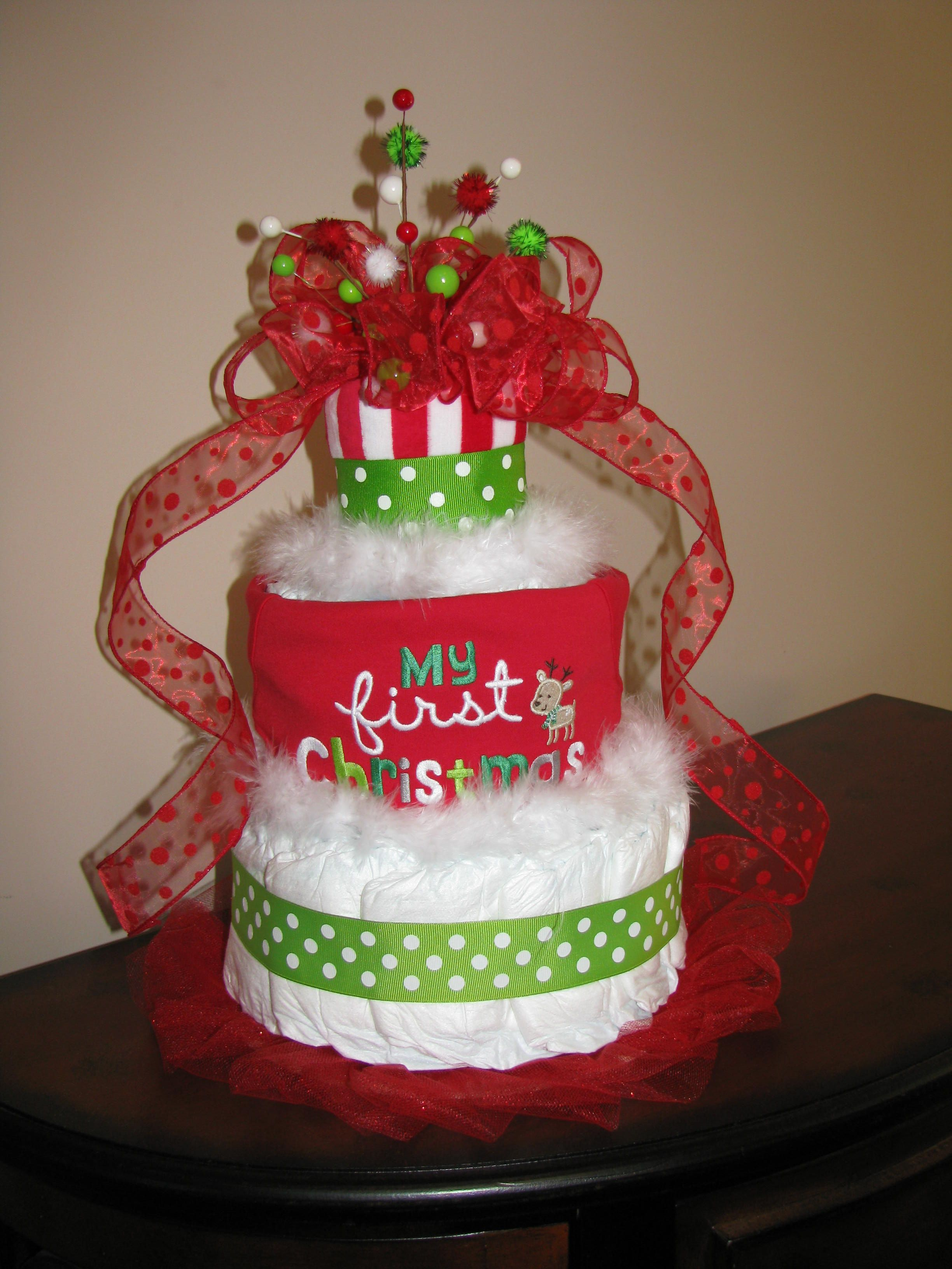 Diaper Cakes by Lindsay Baby s First Christmas onesie was on