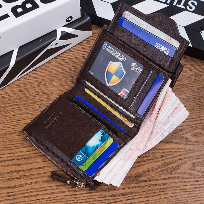 Men's Leather ID credit Card holder Clutch Bifold Coin Purse Wallet Pockets Gift #Unbranded #Bifold