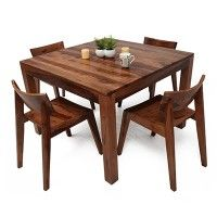 Brett 4 Seater Dining Set Rs 24 999 Material Sheesham Wood Color Finish Teak Finish 4 Seater Dining Table Teak Dining Chairs