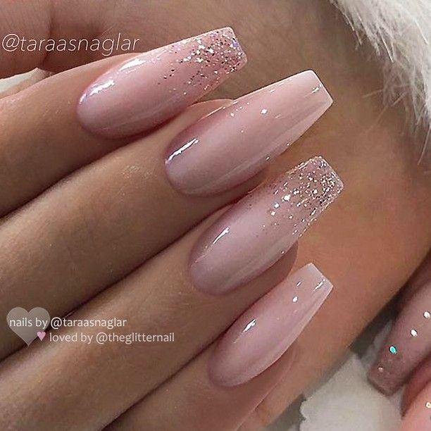 Repost Werbung Unbezahlt Advertising Unpaid Milky Pink With Glitter Ombre On Coffin Nai Ombre Acrylic Nails Pink Acrylic Nails Ballerina Nails