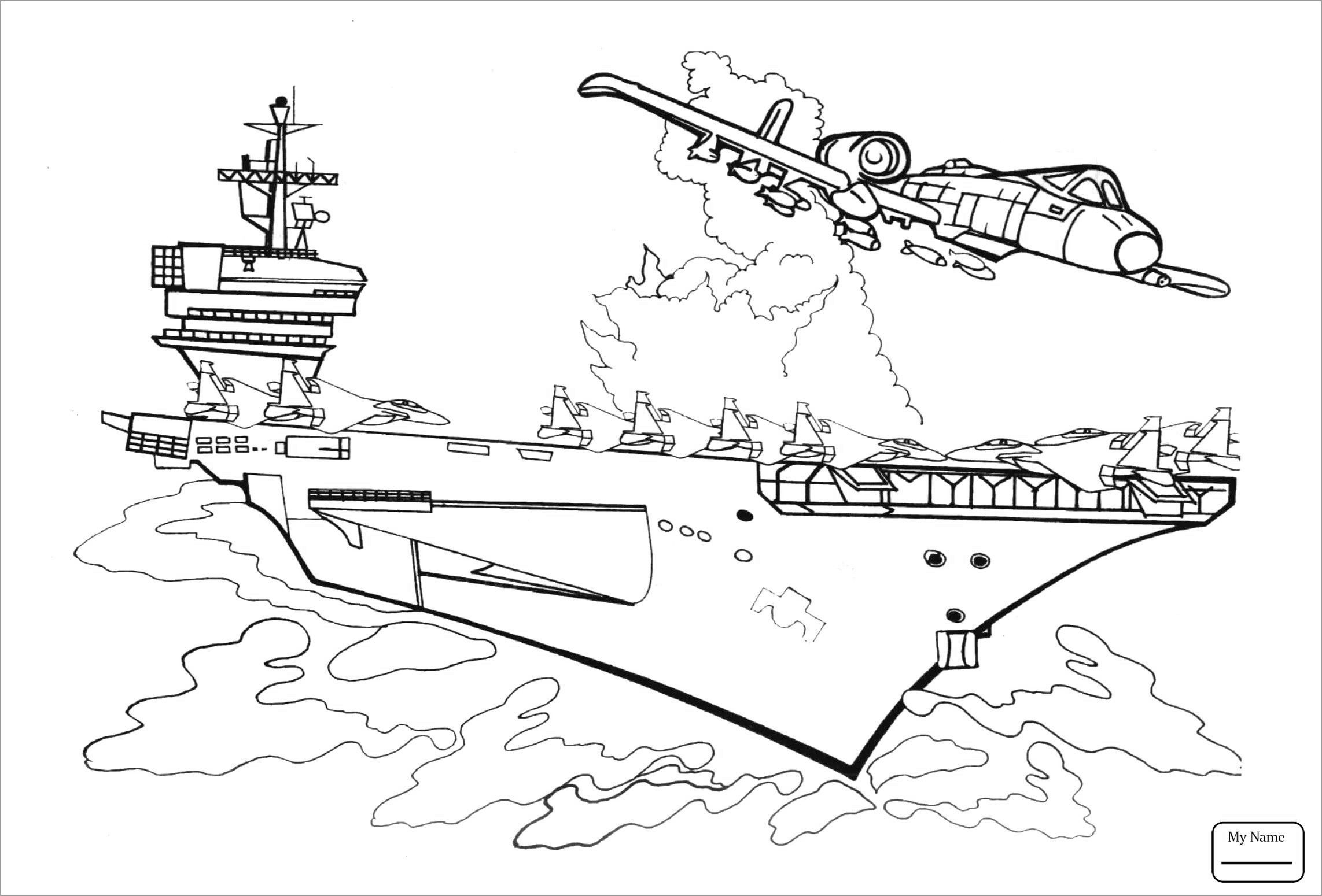 Aircraft Carrier Colouring Pages In
