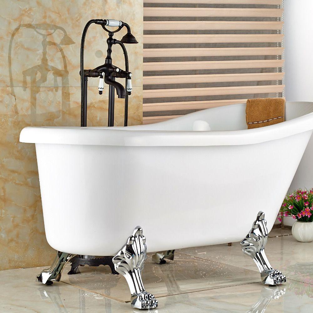 Oil Rubbed Bronze Bathroom Floor Mounted Tub Filler W/ Hand Shower ...