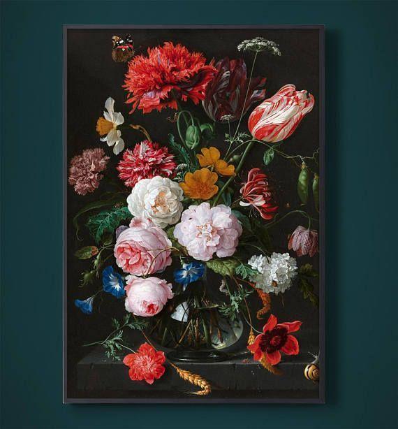 Modern Victorian Wall Art, Victorian Wall Decor, Floral Wall Art, Victorian Flower, Dutch Still Life, Red Flowers, Floral Decor, Wall Art