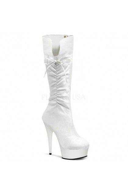 White Faux Leather Side Ruched Knee High Boots