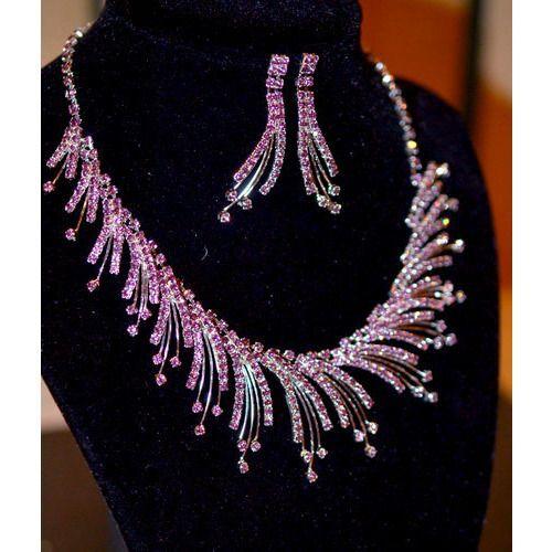 Vintage Inspired Jewelry Set - Purple Austrian Crystal Necklace & Earrings