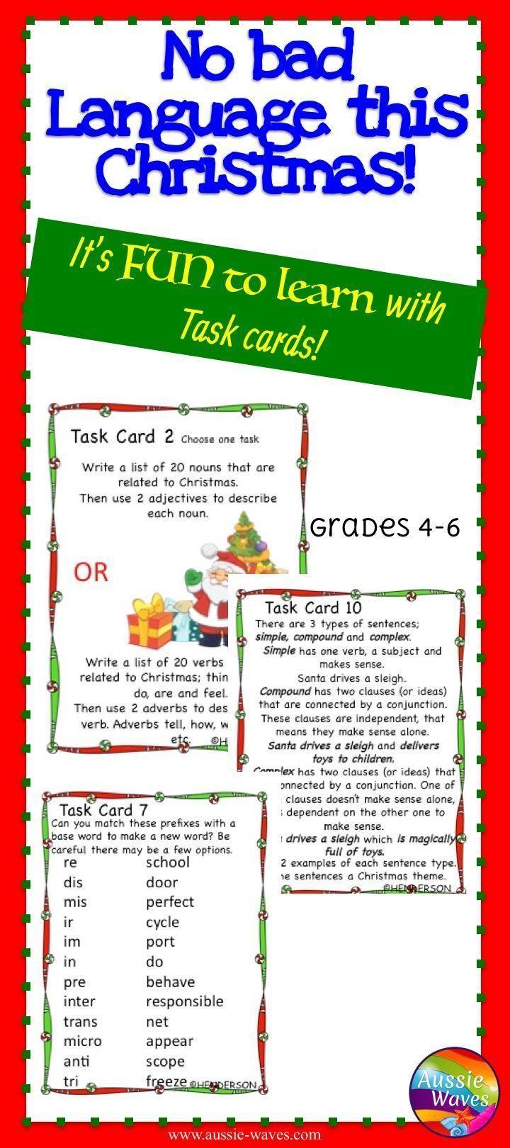 christmas language arts skills task cards years 4 6 plurals nouns