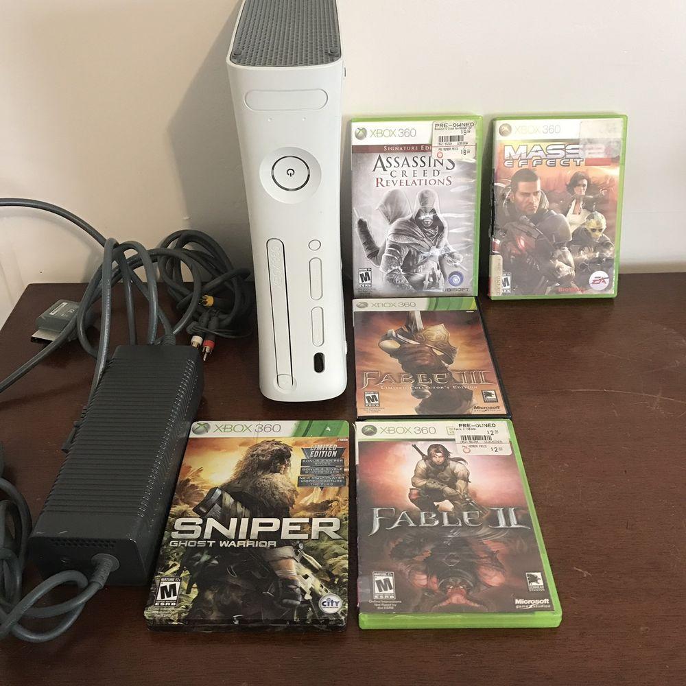 White Microsoft Xbox 360 20GB HDMI Console Bundle 4 Games