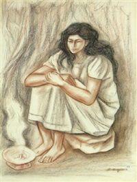 Mujer sentenda par Raúl Anguiano