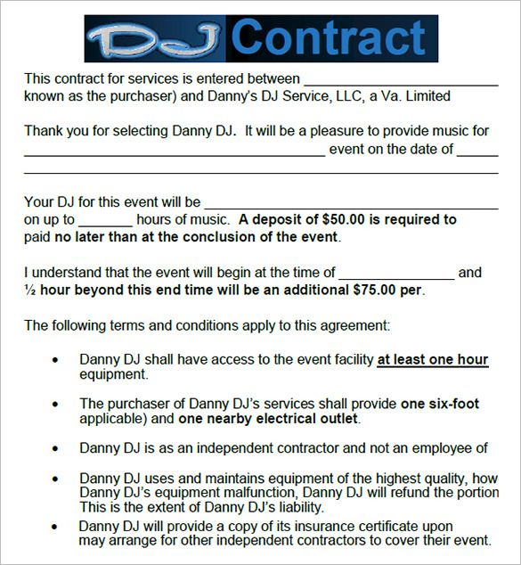 6+ DJ Contract Templates u2013 Free Word, PDF Documents Download - wedding contract templates