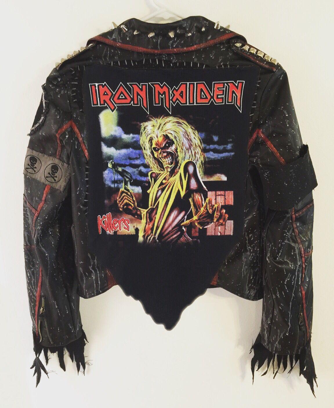 Iron Maiden Jacket From Chad Cherry Clothing Distressed Jacket Black Jacket Rocker Jacket Custom J Types Of Fashion Styles Heavy Metal Fashion Punk Outfits [ 1406 x 1152 Pixel ]