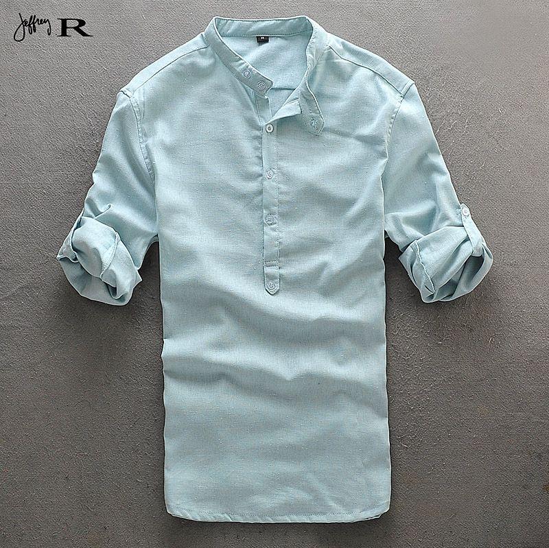 рубашка без воротника мужская фото