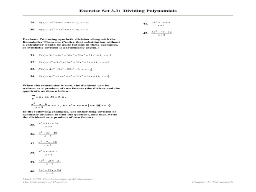 Exercise Set 3.3: Dividing Polynomials Worksheet | Lesson Planet ...