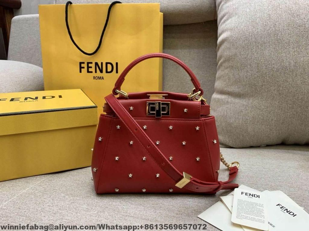 4aec816dd122 Fendi Lether Peekaboo XS Bag with Crystal Stars 2019