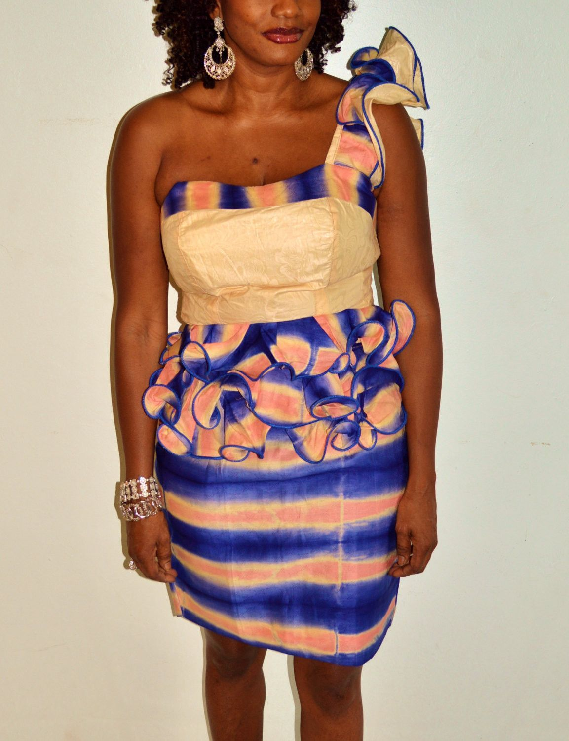 Blue And Pink Two Piece Dress