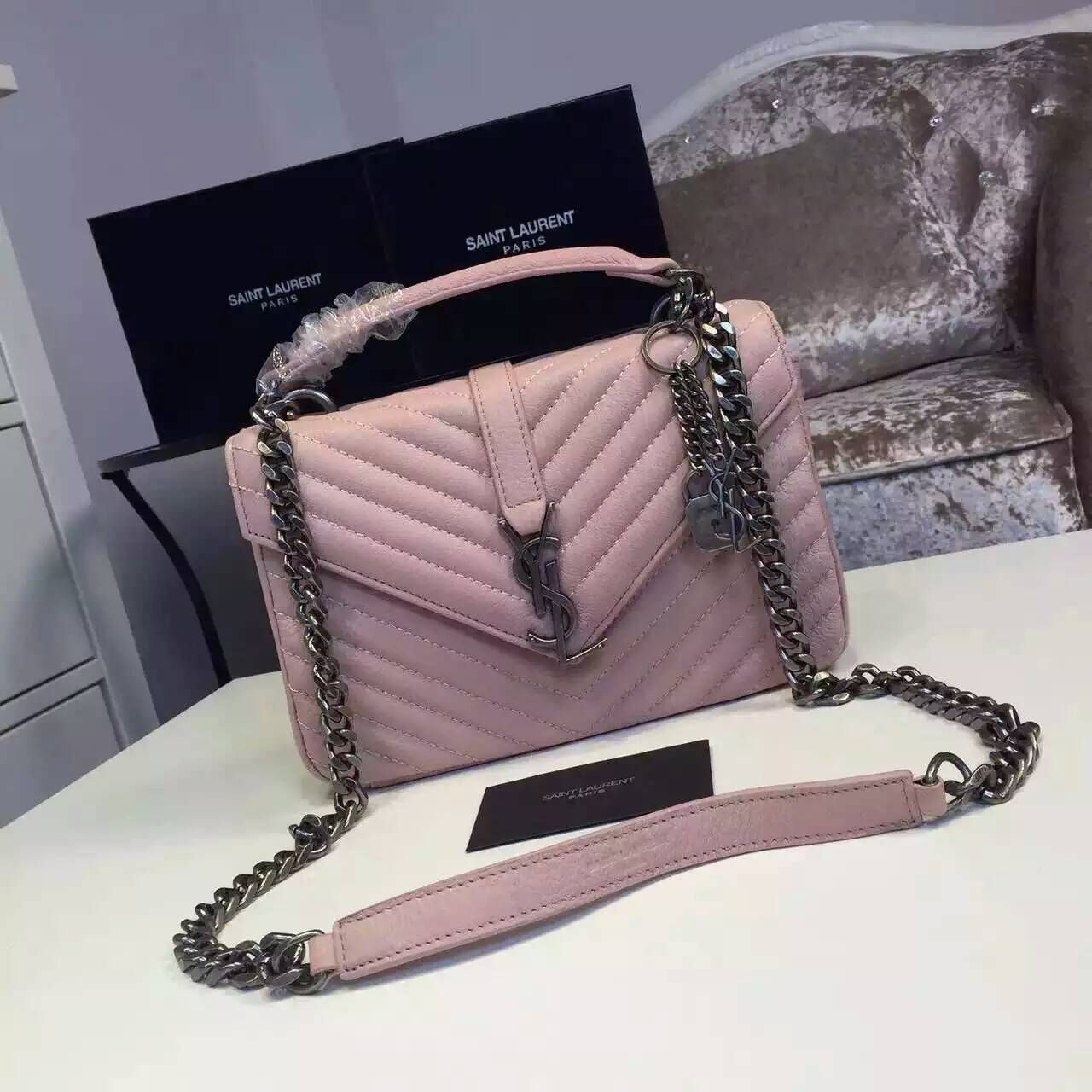 89e44332c8ad4 2016 New Saint Laurent Bag Cheap Sale-Saint Laurent Classic Medium COLLEGE  MONOGRAM Bag in Pale Pink MATELASSE Leather