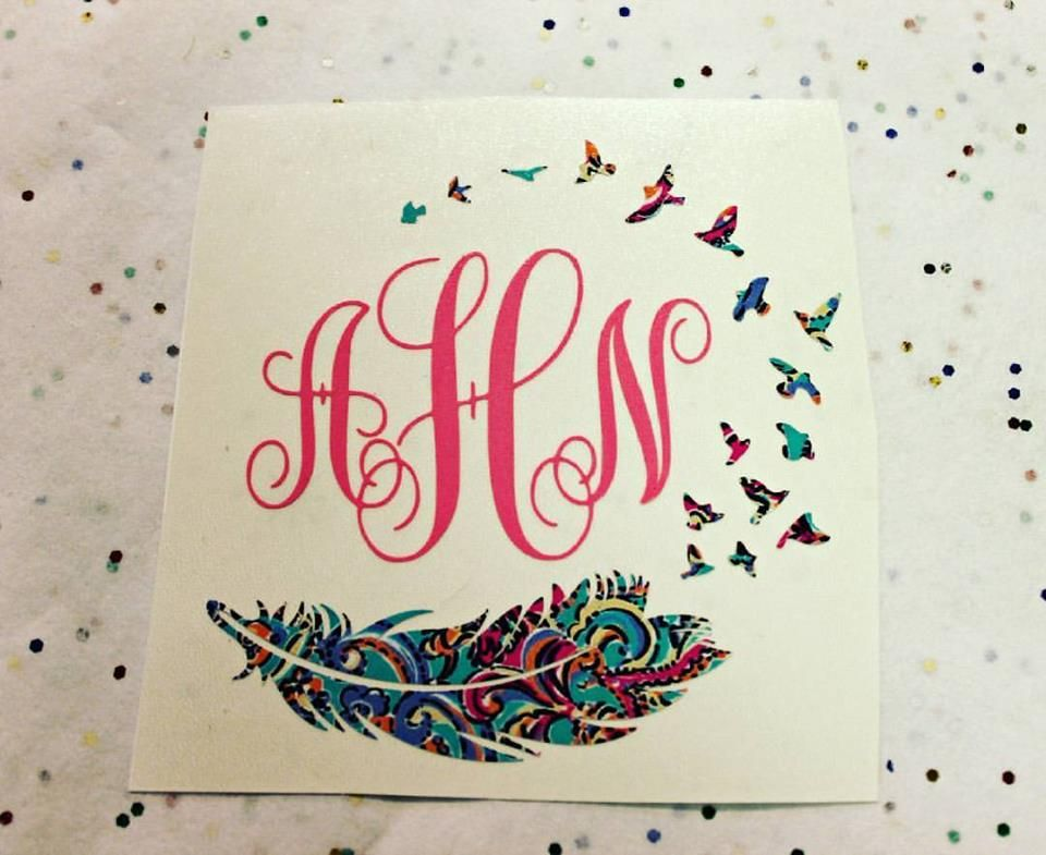 Birds of a feather monogram decal we can make this in any size and color · monogram stickersmonogram shirtsvinyl