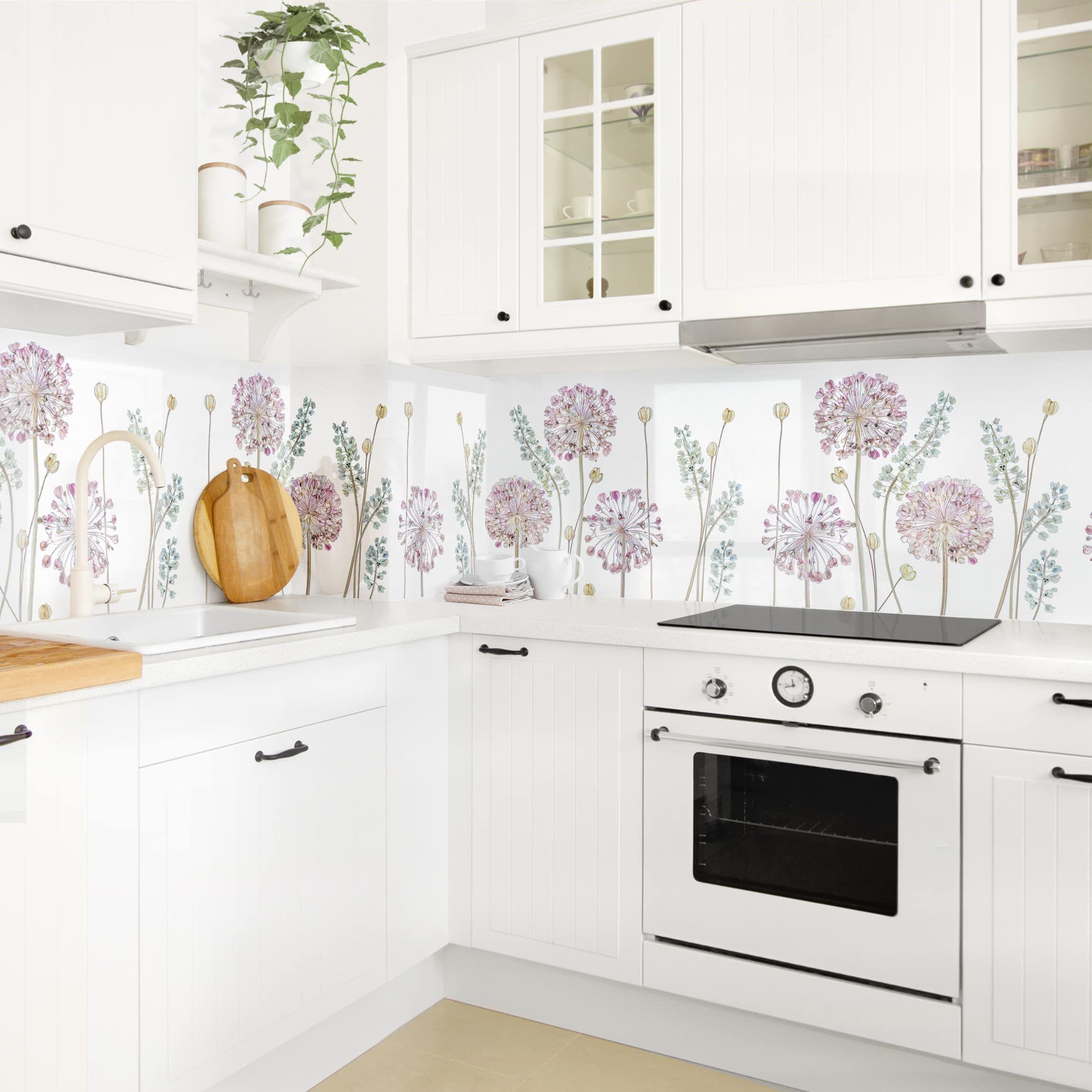 Kuchenruckwand Allium Illustration I Spritzschutz Kuchen