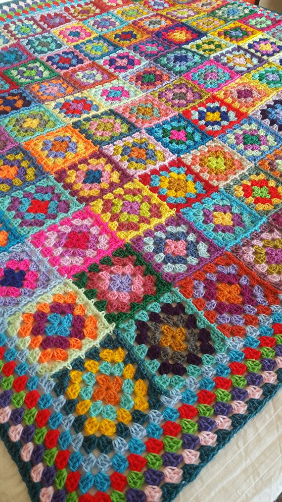 Retro Granny Squares BLANKET Afghan Crocheted Sofa by Thesunroomuk #grannysquares