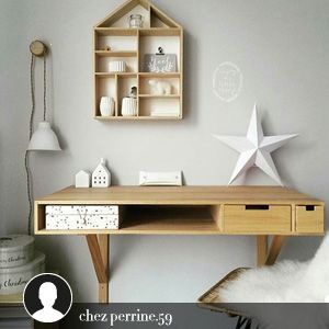 bureau fixation murale en bois 2 tiroirs bloomingville. Black Bedroom Furniture Sets. Home Design Ideas