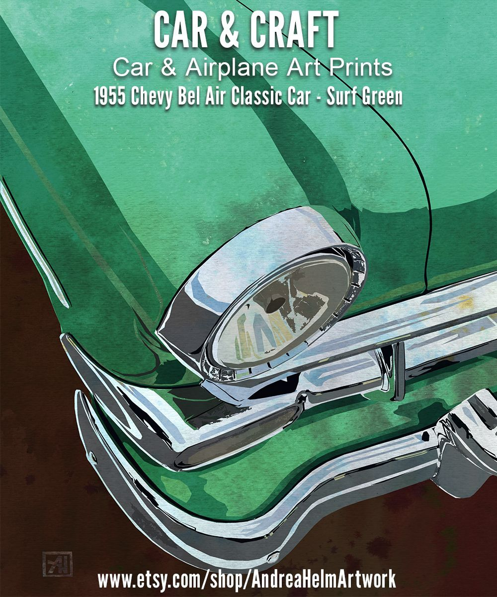 1950s Chevy Bel Air Car Art Poster   Automotive Illustration   Classic Chevy Car Print - Surf Green  All curves and chrome in retro surf green – this is one 1955 Chevy Bel Air classic car poster you #1950s #Air #art #Automotive #Bel #CAR #Chevy #Classic #GREEN #Illustration #Poster #print #Surf