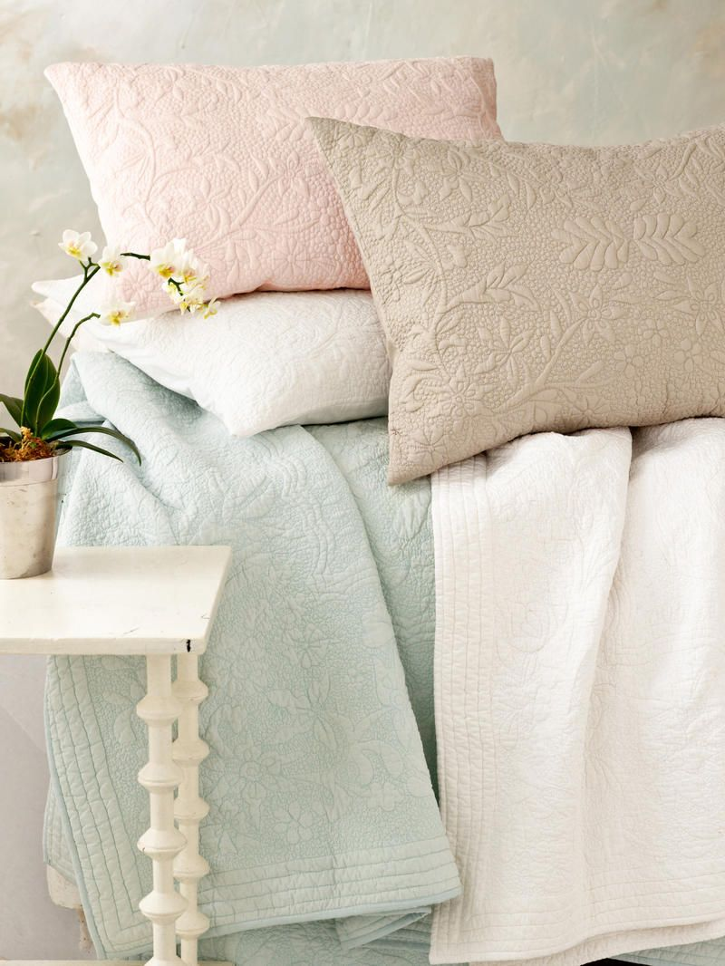 Rosary White Quilted Sham Pine Cone Hill Bedrooms