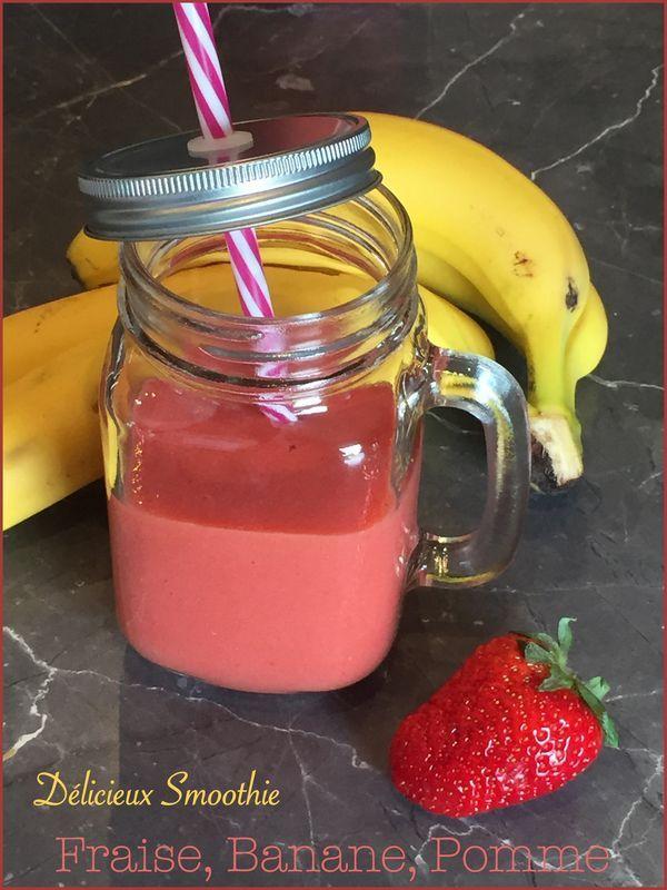 Smoothie fraise, pomme, banane - les délices de Capu #boissonsfraîches C'est vrai que le temps plus que maussade de ces derniers jours ne se prête pas à la préparation de boissons fraîches !!! Mais des... #boissonsfraîches