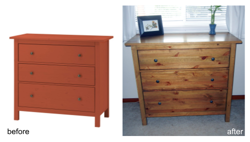 Before: Red Hemnes Ikea Pine 3 Drawer Dresser. After: Sanded Down To Bare  Wood, And Stained, Color: Weathered Oak, Minwax.