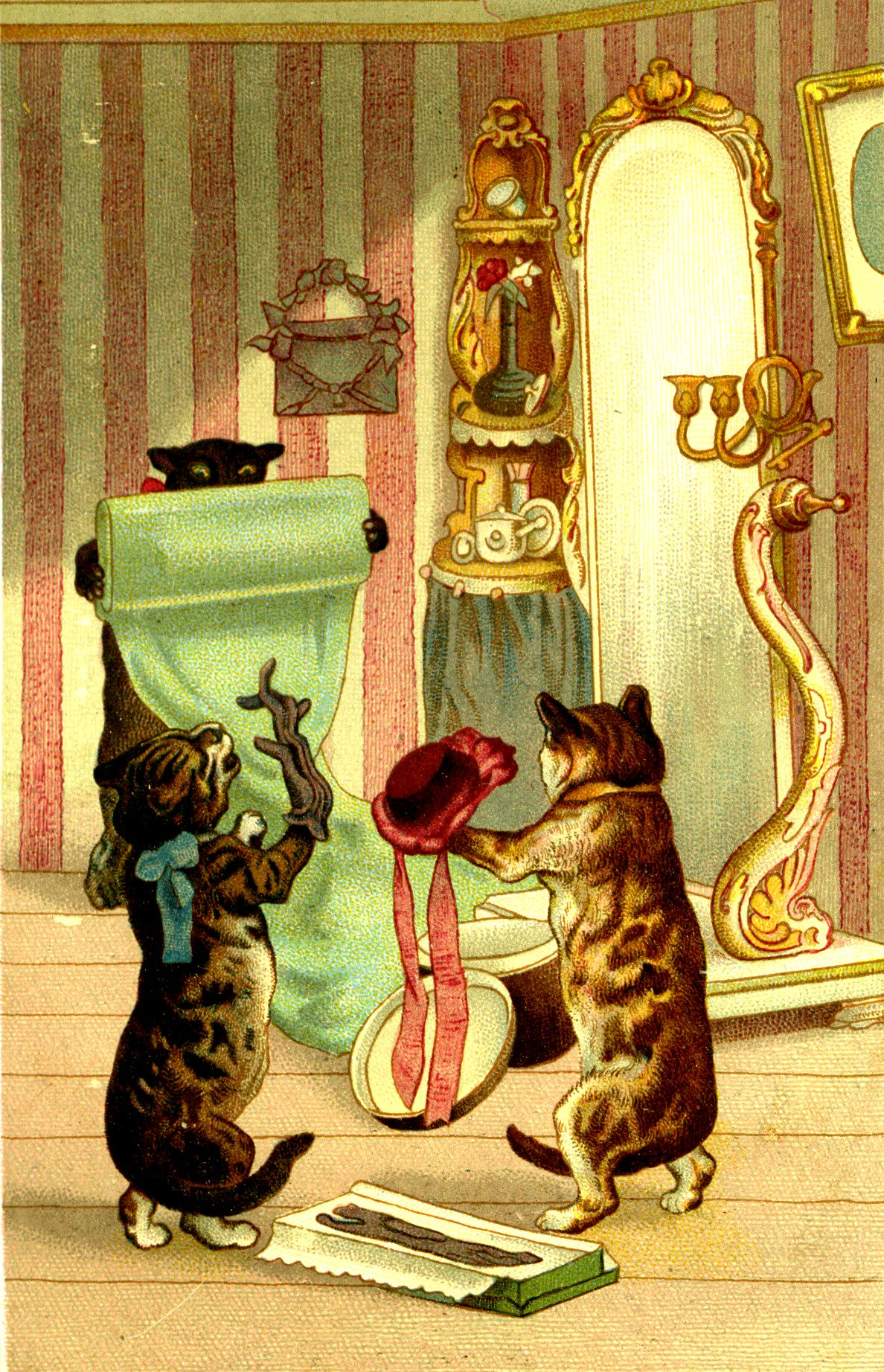 Victorian Kitty Cats Dancing Trying On Hats Con Imagenes