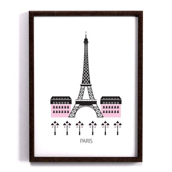 Paris City Poster Art Print Scandinavian Design Eiffel Tower Modern Poster Modern Poster Paris City Paris