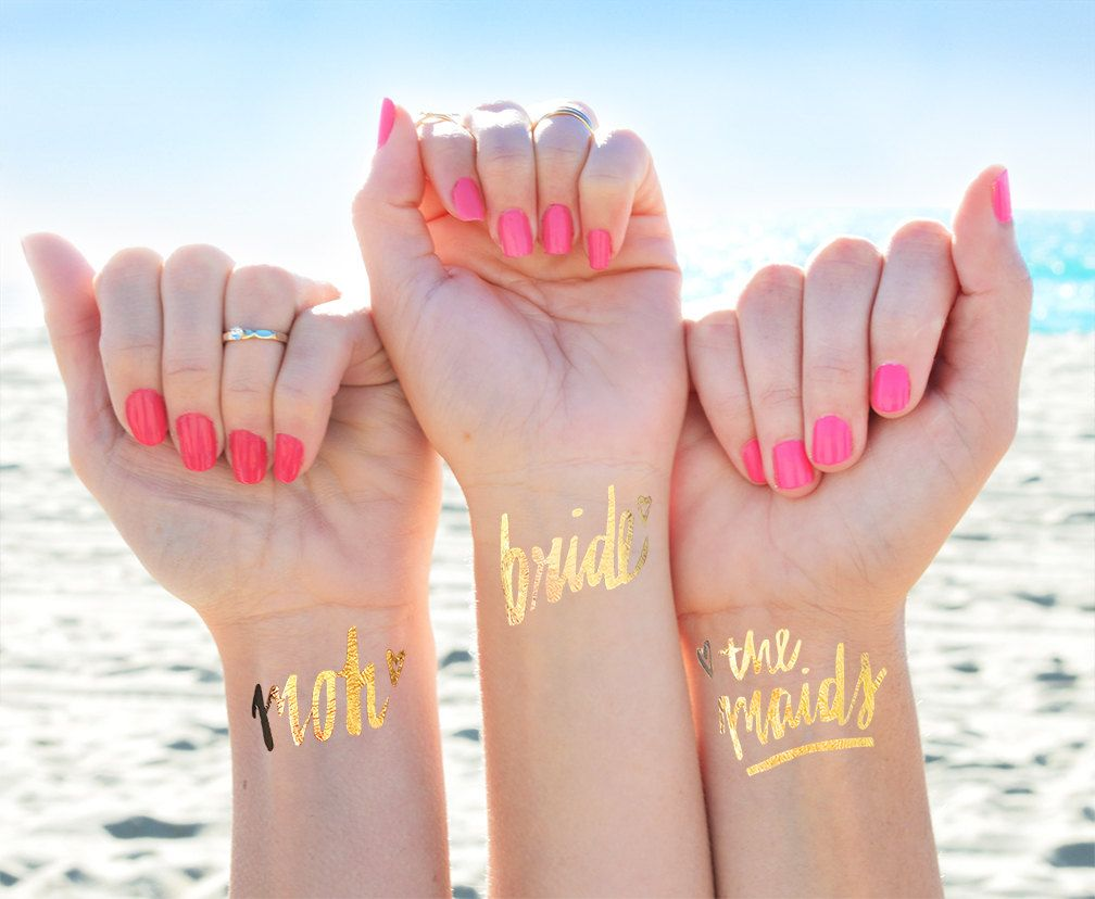 Bridesmaid Wedding Tattoo Hen Bridal Party Gift Flash Tattoo Bachelorette Party Favors 2 PACK Bride Tribe Metallic Temporary Tattoo