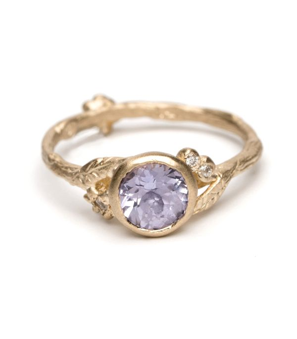Twig and Daisies Solitaire with Lavender Sapphire - 1.07ct