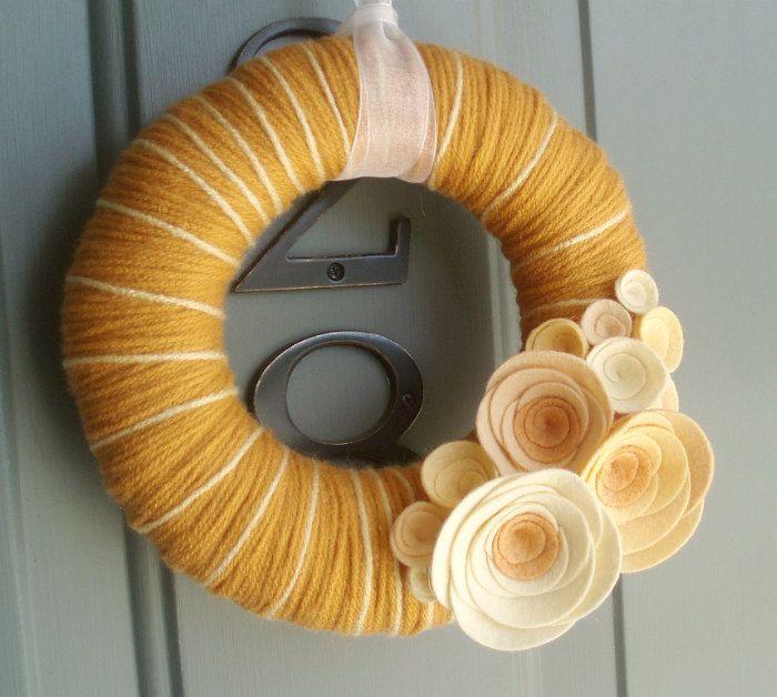 Yarn Wreath Felt Handmade Door Decoration - Peach Cobbler 8in.