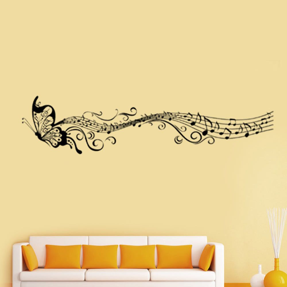 Music musical note staff Butterfly Wall sticker decal Home Decor ...