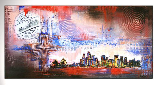 Sydney - Stadtbild, Stadtbilder, Stadtgemälde, Städtemalerei, Original Gemälde auf Leinwand, Wandbild abstrakt, Künstler Bild der Modernen Kunst Malerei - www.burgstallers-art.de